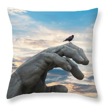 Bird On Hand Throw Pillow