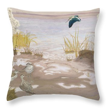 Bird On The Mud Flats Of The Elbe Throw Pillow