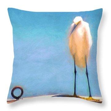 Bird On The Rail Throw Pillow