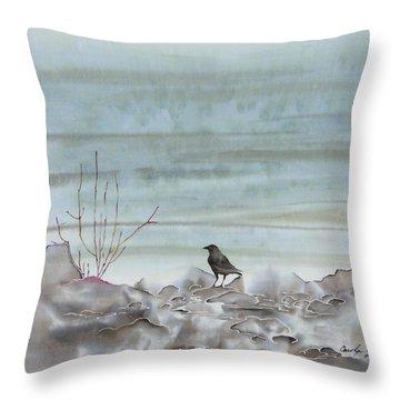 Bird On The Shore Throw Pillow by Carolyn Doe
