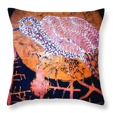 Bird On Thistle At Sundown Throw Pillow by Carol Law Conklin