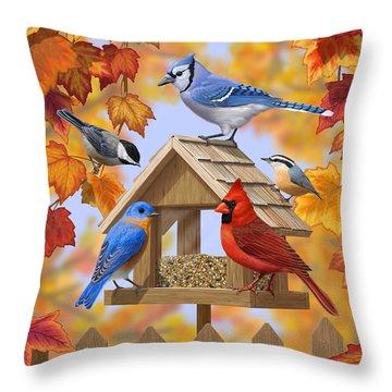 Bird Painting - Autumn Aquaintances Throw Pillow