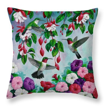 Bird Painting - Hummingbird Heaven Throw Pillow by Crista Forest
