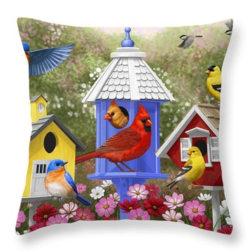 Bird Painting - Primary Colors Throw Pillow