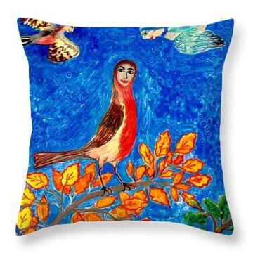 Bird People Robin Throw Pillow by Sushila Burgess