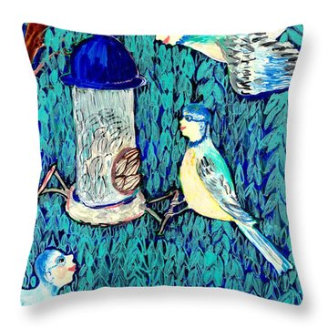 Bird People The Bluetit Family Throw Pillow by Sushila Burgess