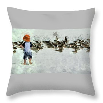 Bird Play Throw Pillow