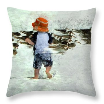 Throw Pillow featuring the photograph Bird Play by Claire Bull