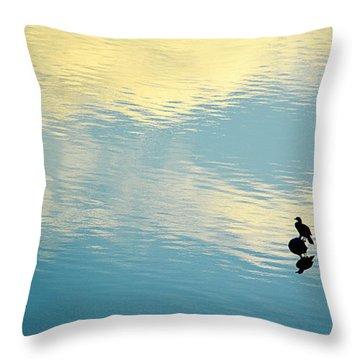 Throw Pillow featuring the photograph Bird Reflection by AJ Schibig