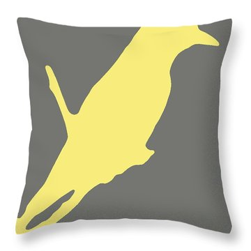 Bird Silhouette Gray Yellow Throw Pillow