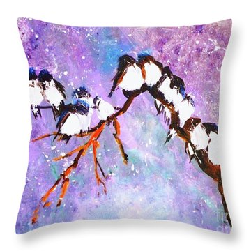 Throw Pillow featuring the painting Bird Snowfall Limited Edition Print 1-25 by Donna Dixon