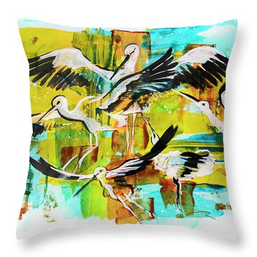 Bird Storks, Illustration  Throw Pillow