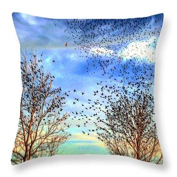 Bird Swarms Versus Hawks On The Prairie Throw Pillow