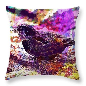 Throw Pillow featuring the digital art Bird The Sparrow Nature Pen  by PixBreak Art