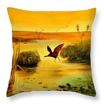 Bird Water Throw Pillow by Henryk Gorecki