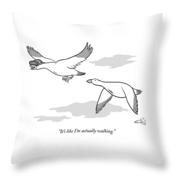 Bird Wearing Virtual Reality Goggles Throw Pillow