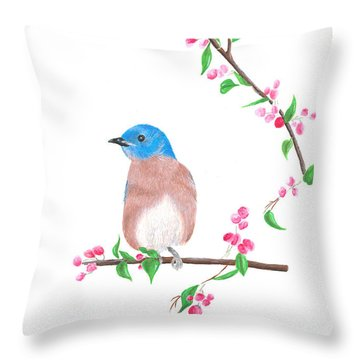 Minimal Bird And Cherry Flowers Throw Pillow