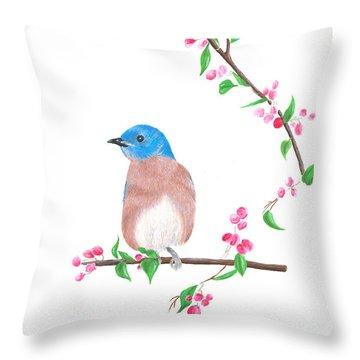 Minimal Bird And Cherry Flowers Throw Pillow
