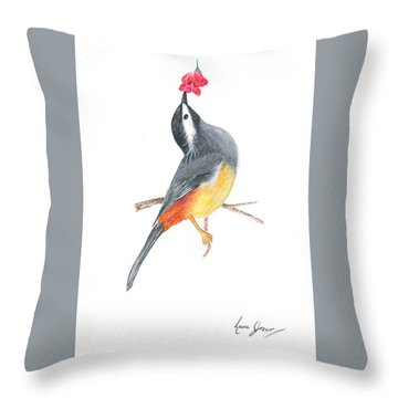 Minimal Bird And Flower Throw Pillow