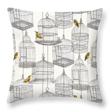 Birdcages Throw Pillow by Stephanie Davies