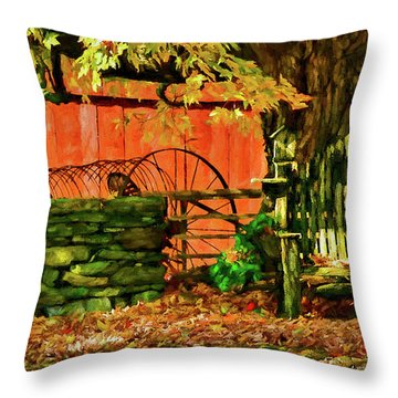 Throw Pillow featuring the photograph Birdhouse Chair In Autumn by Jeff Folger