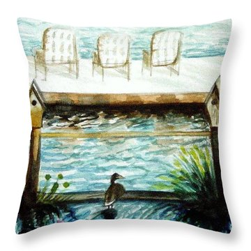 Throw Pillow featuring the painting Birdhouse Haven by Elizabeth Robinette Tyndall