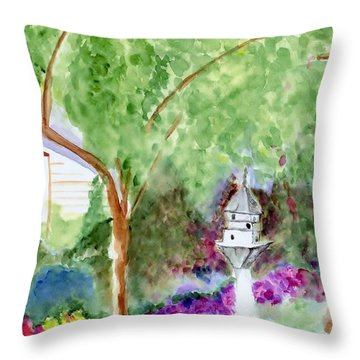 Throw Pillow featuring the painting Birdhouse by Jamie Frier