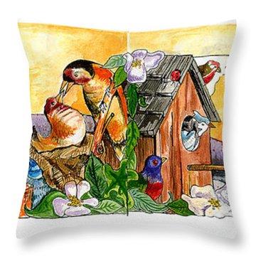 Birdhouse Tableau Throw Pillow by John Keaton