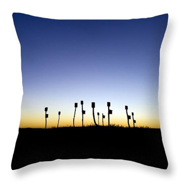 Birdhouses Throw Pillow by John Greim