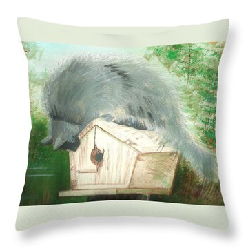 Throw Pillow featuring the painting Birdie In The Hole by Denise Fulmer