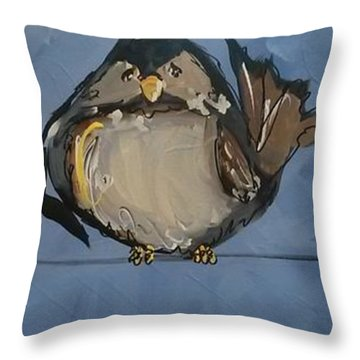 Birdies On A Wire Throw Pillow