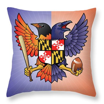 Birdland Baltimore Raven And Oriole Maryland Crest Throw Pillow