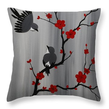 Birds And Blooms In Red Throw Pillow