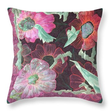 Birds And Blooms Throw Pillow