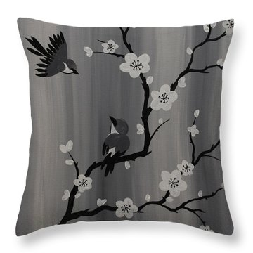 Birds And Blossoms Throw Pillow