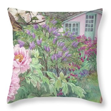 Birds And Bunnies In Cottage Garden Throw Pillow