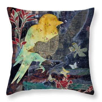 Birds And Butterflies Throw Pillow