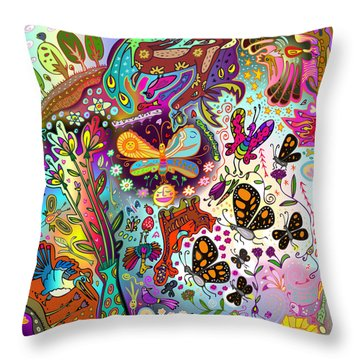Throw Pillow featuring the digital art Birds And Butterflies by Marti McGinnis