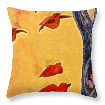 Birds And Tree - Pa Throw Pillow