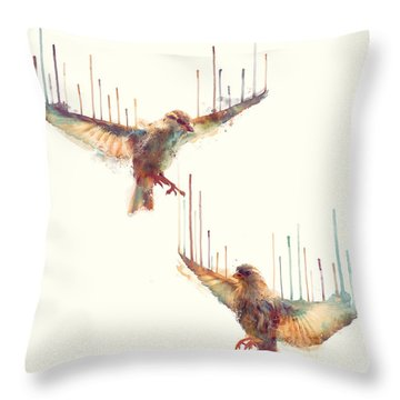 Birds // Awake Throw Pillow