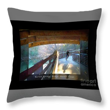 Birds Boaters And Bridges Of Barton Springs - Bridges One Greeting Card Poster V2 Throw Pillow by Felipe Adan Lerma