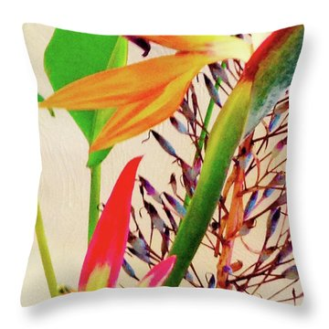 Birds Bromeliads Halyconia Throw Pillow