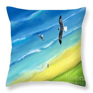 Bird's-eye Above Sea Throw Pillow