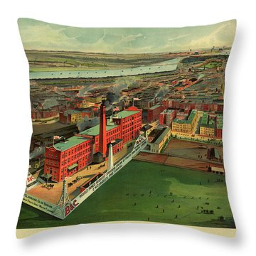 Bird's Eye View Of Boston Throw Pillow