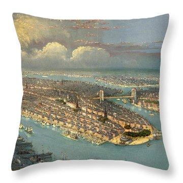 Bird's Eye View Of New York City  Throw Pillow