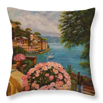 Bird's Eye View Of Portofino Throw Pillow by Charlotte Blanchard