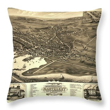 Bird's Eye View Of The Town Of Nantucket In The State Of Massachusetts Throw Pillow
