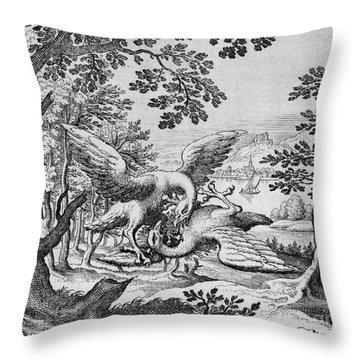 Birds Fighting From Musaeum Hermeticum, 1678 Throw Pillow