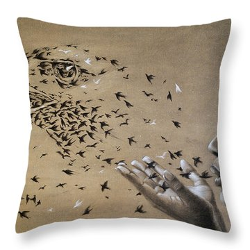 Birds Of Poetry  Throw Pillow by Fithi Abraham