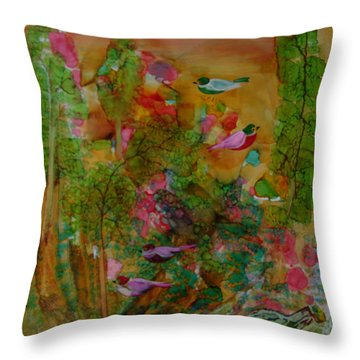 Birds In Exotic Landscape # 57 Throw Pillow